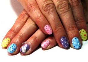 Easter Bunny and Polka Dots Nail Art Tutorial