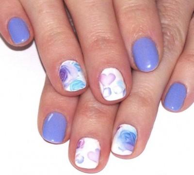 Watercolour floral mani
