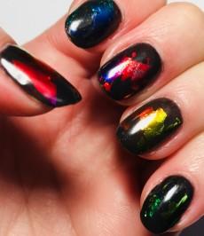 Rainbow foil mani